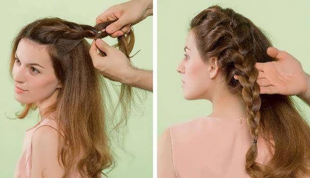 Две красивые косы на средние волосы