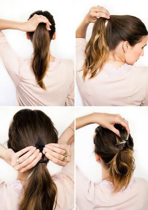 Ежедневные прически на средние волосы своими руками фото