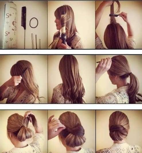 Прически пучки простые на длинные волосы