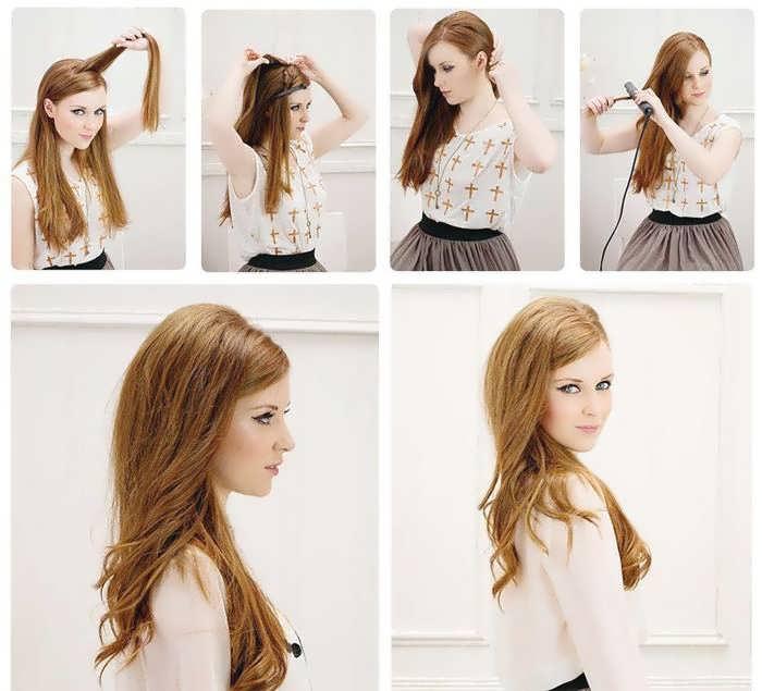 Как сделать объёмную причёску на средние волосы 891
