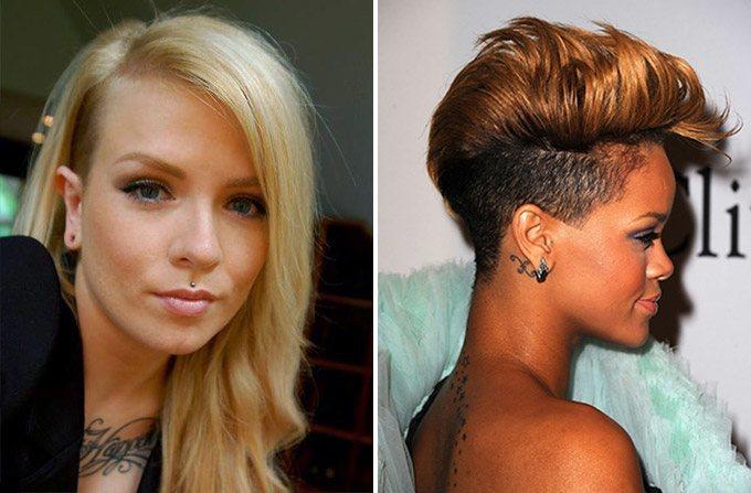 Женская стрижка на средние волосы с выбритым виском