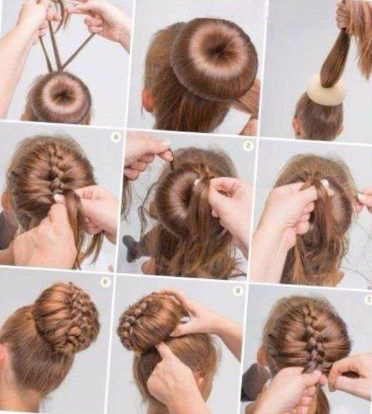 Причёска пучок с валиком как делать