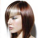 Косая челка для разных типов волос