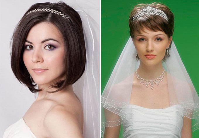 прически невесты без челки с фатой