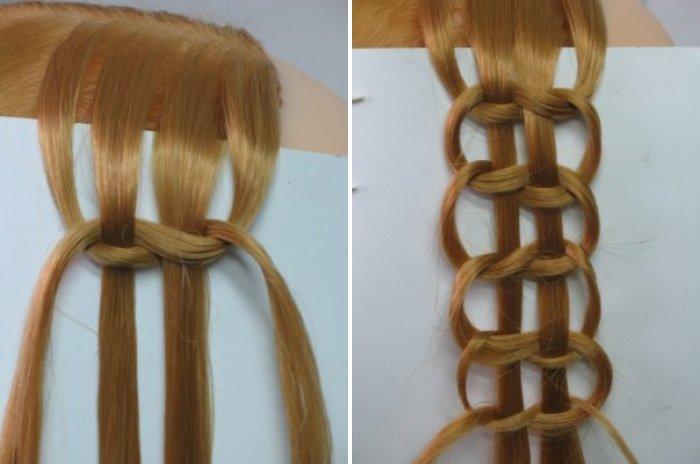 Прически из кос и с косами на средние и длинные волосы (66)