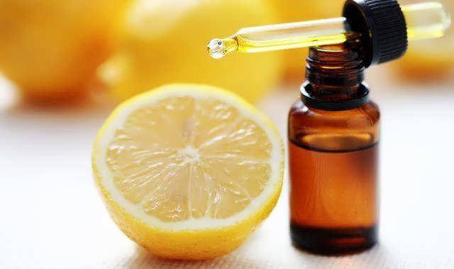 h3ottle of essential oil from lemon - alternative medicine