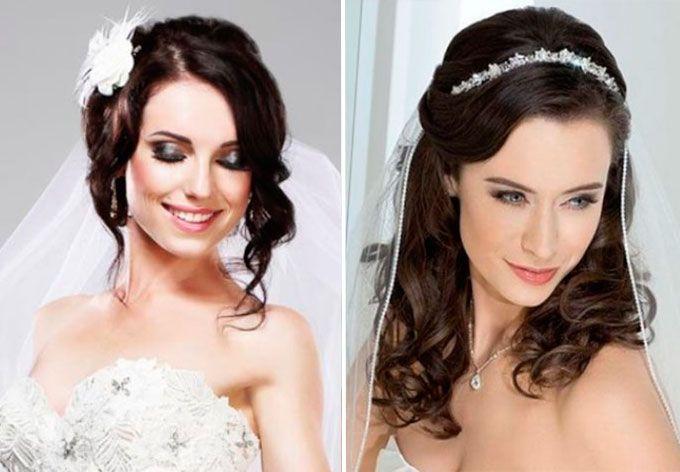 Свадебный аксессуар на средние волосы