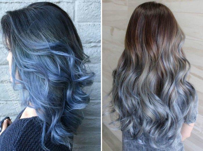 Синее омбре на черный волос